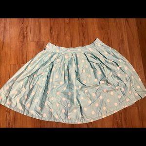 Aqua Blue Polka Dot Plus Size Circle Skirt